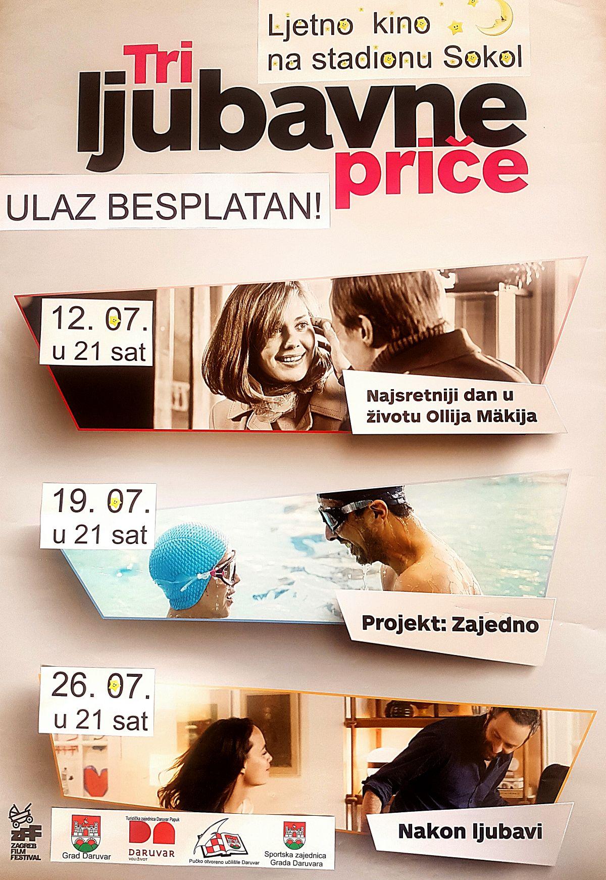 Ljetno kino na stadionu Sokol - Tri ljubavne priče