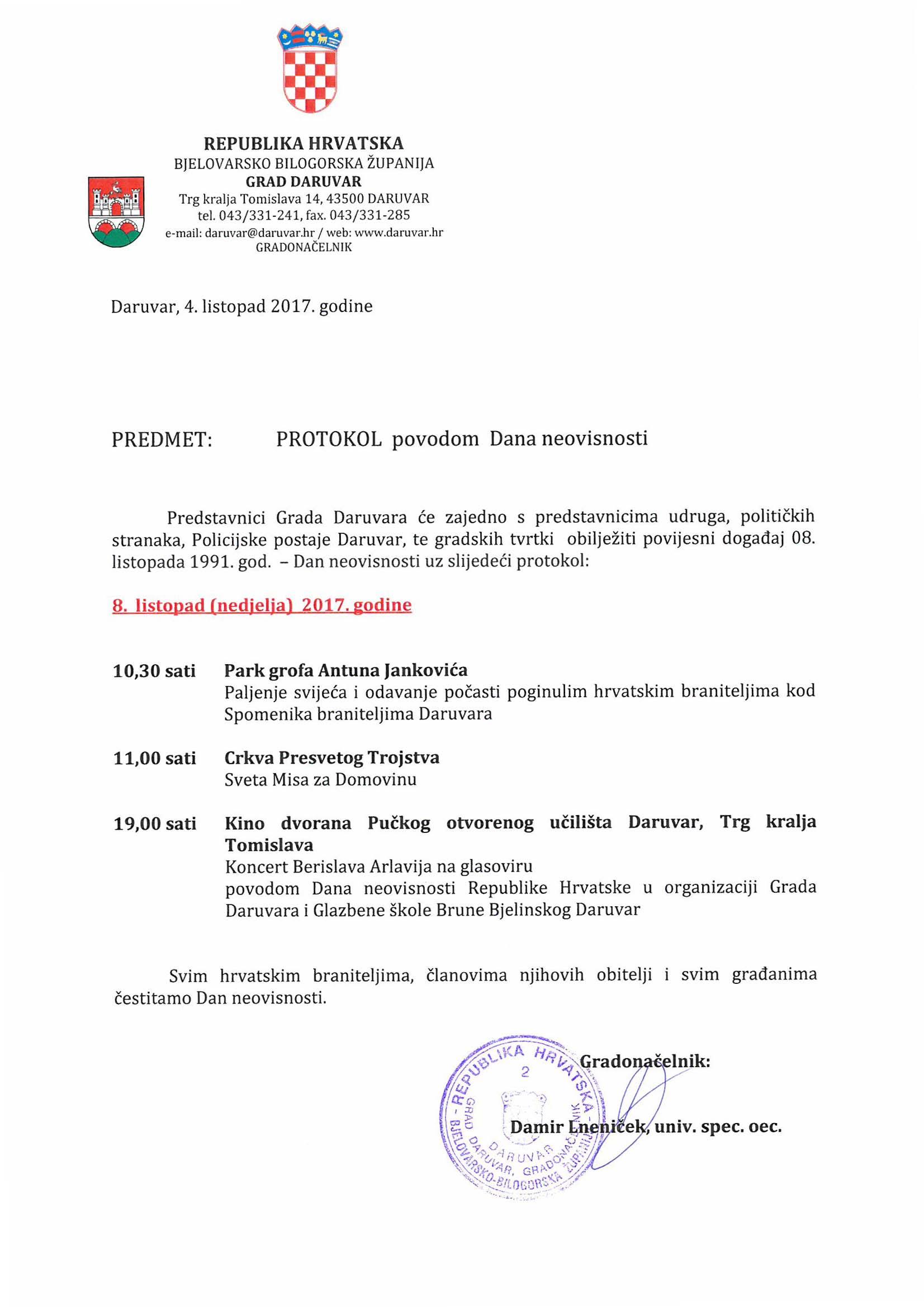 Protokol povodom Dana neovisnosti